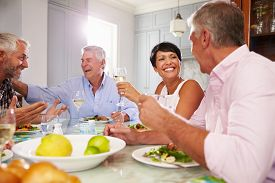 stock photo of maturity  - Group Of Mature Friends Enjoying Meal At Home Together - JPG