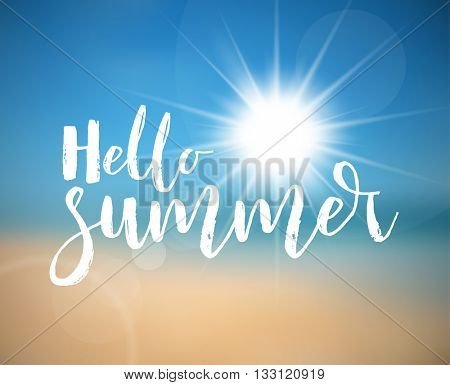 Vector Summer holiday poster with hot summer sun, abstract beach in the background and lettering Hel