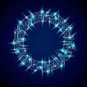 Round Luminescent Blue Circuit Board With Electronic Components Of Technology Device. Computer Mothe poster