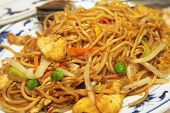 image of chinese food  - plate of chicken chow mein - JPG