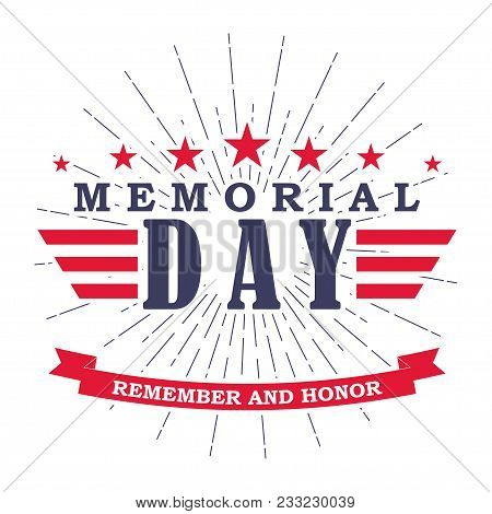 poster of Memorial Day Banner With Stars, Stripes And Ribbon. Template For Memorial Day. Isolated On White. Ve