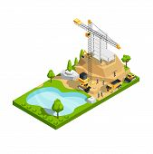 Commercial Building Construction 3d Isometric Vector Concept For Architecture Site Design. Construct poster