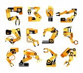 Industrial Robotic Arms Manufacture Technology Assembly Equipment Vector Set. Industry Assembly Equi poster