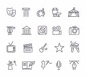 Outlined Arts And Entertainment Icon Set In A White Background poster