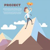 Business Man Holding Flag On Mountain Peak Vector Background. Successful Leadership Winner On Mounta poster