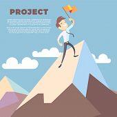 Business Man Holding Flag On Mountain Peak Vector Background. Successful Leadership Winner On Mounta poster
