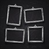 Old Hand Drawn Chalk Photo Frames, White Vintage Image Borders With Shadows Isolated On Blackboard V poster