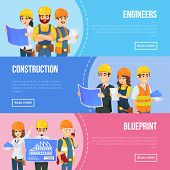 Professional Engineering And Construction Concept With Worker Team In Uniform And Safety Helmets. In poster