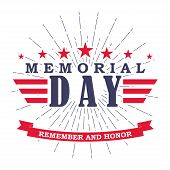 Memorial Day Banner With Stars, Stripes And Ribbon. Template For Memorial Day. Isolated On White. Ve poster
