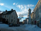 stock photo of marblehead  - Christmas eve in a lovely seashore town of Marblehead Massachusetts after snowfall evening - JPG