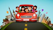Happy Family Rides In Car On Vacation. Journey, Travel Concept. Cartoon Vector poster