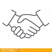 Handshake Linear Icon. Partnership Thin Line Illustration. Business Agreement Contour Symbol. Vector poster