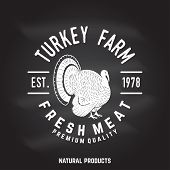 Turkey Farm Badge Or Label On The Chalkboard. Fresh Meat. Vector Illustration. Vintage Typography De poster