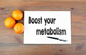 Boost Your Metabolism. Wooden Background With Oranges And Text poster