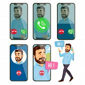Online Call Vector. Man Face. Mobile Smartphone Screen. Video, Voice Chatting Online. Speaking. Call poster