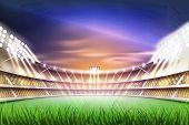 Football Soccer Stadium Tribune Backgroud With Realistic Green Grass Field Playground, Illuminated B poster