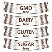 Hand Drawn Gluten Free, Sugar Free, Dairy Free, Gmo Free Banners Ribbon Design. Vector Illustration poster