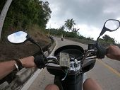 Palms Jungles Bike Motobike Forest Speed, Urban, Street, Fpv, Road Lifestyle Fast Transport Asphalt  poster