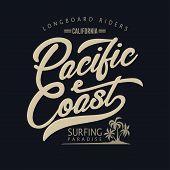 Surfing T-shirt Graphic Design. Surfers Print Stamp. California Surf Wear Typography Emblem. Creativ poster