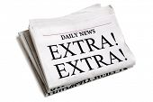 pic of newspaper  - Newspaper headline Extra Extra isolated on white background - JPG