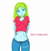 Zombie Girl With Green Hair. Zombie Apocalypse. Halloween Party poster