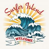 Surf Wave Poster. Surfer Island Vintage Logo, Painting Ocean Seascape With Big Waves Vector Illustra poster