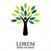 People Tree Icon With Green Leaves - Eco Concept Vector. This Graphic Also Represents Environmental  poster