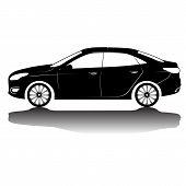Car Silhouette In Black With Details.vector Isolated Car Silhouette Image. Black Silhouette. Car Wit poster