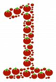 One Digit Mosaic Of Tomatoes In Variable Sizes. Vector Tomato Symbols Are Combined Into One Digit Co poster