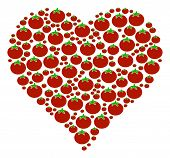 Valentine Heart Collage Of Tomato In Various Sizes. Vector Tomatoes Symbols Are Organized Into Valen poster