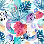 Watercolor Tropical Background. Floral Tropical Leaves And Geometric Shapes Seamless Pattern - Circl poster