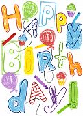 Birthday Card With Colorful Lettering, Balloons, Cupcakes And Crayons. Vector Illustration. Eps File poster