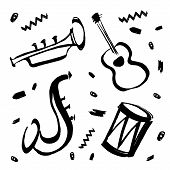Vector Hand Drawn Illustration For International Jazz Day With Music Instruments. Saxophone, Guitar, poster