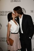 BEVERLY HILLS - MAR 13:  Jared Padalecki, wife Genevieve Cortese arriving at the Paleyfest 2011 even