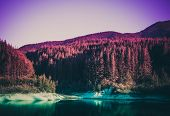 Photo Depicting A Colorful Forest Lake In The Mountain Woods, Europe, Balkans. poster
