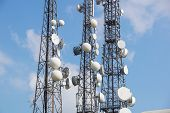 Mobile Phone Communication Antenna Tower With Satellite Dish On Blue Sky Background, Telecommunicati poster