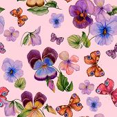 Beautiful Vivid Viola Flowers Leaves And Bright Butterflies On Pink Background. Seamless Spring Or S poster