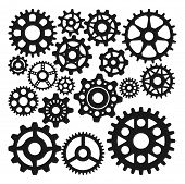 Gear Icons Isolated Vector Illustration. Mechanics Web Development Shape Work Cog Sign. Engine Wheel poster