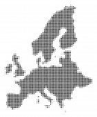 European Union Map Halftone Vector Pictogram. Illustration Style Is Dotted Iconic European Union Map poster