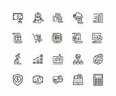 Administration Icons. Set Of Twenty Line Icons. Report, Accounting, Credit Card. Administration Conc poster