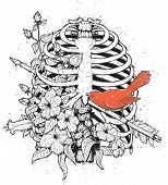 Tattoo Style T-shirt Print With A Rib Cage, Flowers And A Bird. Arrow Shot In The Chest And A Red Bi poster