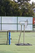 stock photo of umpire  - a view of tennis umpire chair in tennis court - JPG