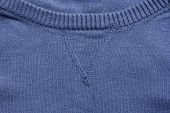 Navy Blue Knit Sweater V-neck Round Collar Close Up. Fashion Clothing Item Detail Of Crew-neck Sweat poster