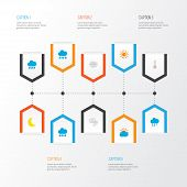 Climate Icons Flat Style Set With Hail, Crescent, Sunny And Other Shower Elements. Isolated Vector I poster