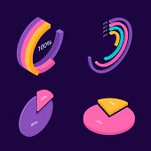 Isometric 3d Charts. Pie Chart And Donut Chart, Layers Graphs. Infographic Presentation, Design Data poster