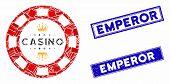 Mosaic Royal Casino Chip Icon And Rectangular Rubber Prints. Flat Vector Royal Casino Chip Mosaic Ic poster