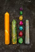 Natural Gem Geological Crystals And Colorful Stones On A Dark Texture Background poster