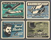 Barbershop Vector Posters Of Hair Styling, Beard And Mustache Shaving Hipster Salon Design. Barber S poster