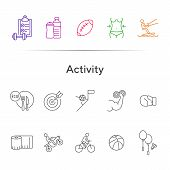 Activity Line Icon Set. Cycling, Game, Slimming. Exercising Concept. Can Be Used For Topics Like Spo poster