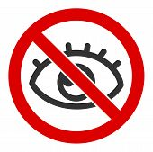 No Vision Raster Icon. Flat No Vision Pictogram Is Isolated On A White Background. poster